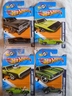 2012 Hot Wheels  68 Camaro,70 Charger,69 Torino,70 Superbird Green Wal