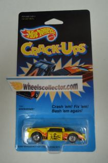 Crack Ups Hot Wheels Sidebanger Yellow 7580 Die Cast Metal 1 Blk Blue
