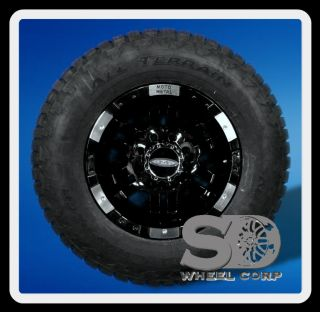 METAL GLOSS BLACK W 285 70 17 NITTO TERRA GRAPPLER TIRE WHEELS RIMS