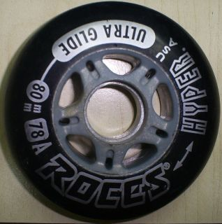 Roces Hyper Speed Inline Skate Wheels Ultra Glide Black 80mm 78A