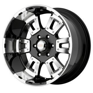 17 Karat 5 6 8 Lug Black Mach Wheels Rims 4 New FREE Caps Lugs Stems