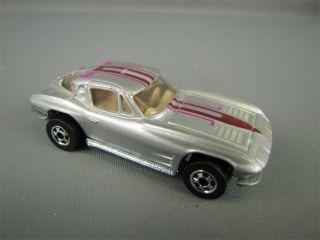 79 Hot Wheels Toy Silver Corvette Split Window Car