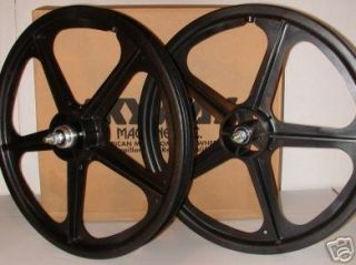 Skyway Tuff Wheel 2 Mag BMX Wheels Black 20 Set Freewheel
