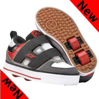 New Heelys Dart Junior Boys Velcro Two Wheels Black Red Roller Skate