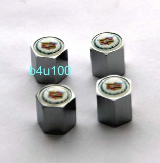 Metal 4 Pcs Tire Air Valve Stem Rims Caps Emblem Cadillac