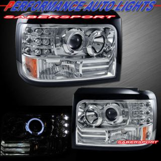 92 96 FORD BRONCO F150 ANGEL EYES HALO PROJECTOR HEADLIGHTS CHROME LED