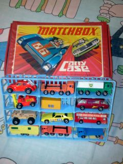 12 Vintage Matchbox Hotwheels Lesney Cars Trucks Campers and Case