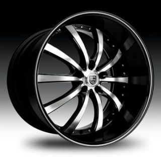 10 Wheel Set Black Machined Black Lip Lexani 5 Lug Rims LSS10