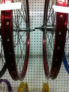 BURGUNDY HEAVY DUTY RIM SET F R 26 X 2 125 ALLOY 105G CRUISER LOWRIDER