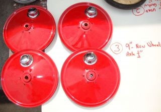 STEELCRAFT/AMERICAN NATIONAL PEDAL CAR WHEELS 9 DIAMETER WITH HUBCAPS