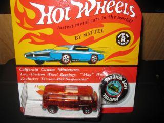 Hot Wheels 1969 RED VW Beach Bomb Rear Loader in Mint in REDLINE