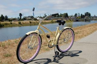 cruiser bike, cream with pink rims, classic single speed beach bike