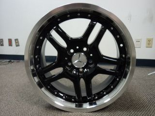Mercedes Replica Wheels Black Polished Lip 18x8 5 5x112 Set 0f 4 18