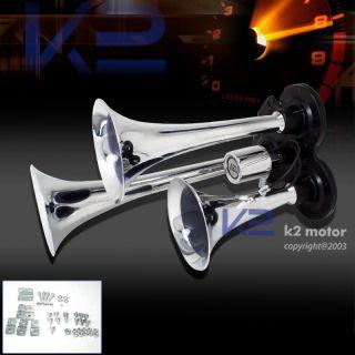 Chrome 3pcs Trumpets Car Van Air Horn Kit 12V 118nu llK