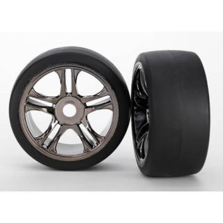 Traxxas 6479 Black Chrome Wheels 118 MPH Slicks Tires 2 Front 1 7 XO 1
