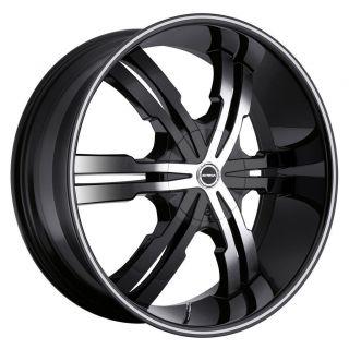 24 inch Strada Vetro Black Wheels Rims 5x115 300C Charger Magnum