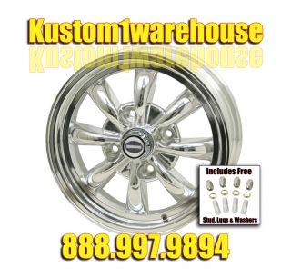 Fully polished 8 spoke rims Empi alloy wheels 4 lug VW Volkswagen