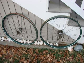 OLD VINTAGE BICYCLE JC HIGGINS BIKE COLORFLOW REAR & FRONT RIMS WHEELS