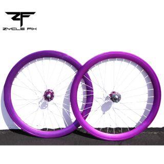 Deep 50mm Wheels Front Rear Rims Purple w Twisted White Spokes