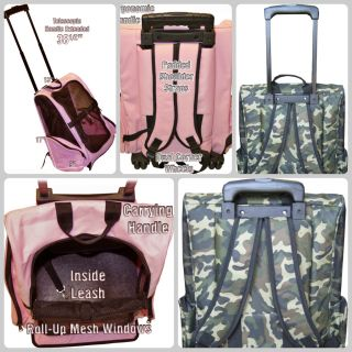 in 1 Deluxe Pet Carrier on Wheels Backpack Car Seat and Roller