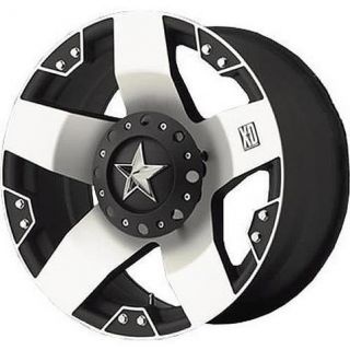 17x8 KMC XD Rockstar Black Wheels Rims 6 Lug Chevy GM Ford Truck 6x5 5