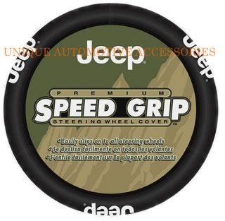 New 1 Piece Jeep Mopar Premium Speed Grip Black Steering Wheel Cover