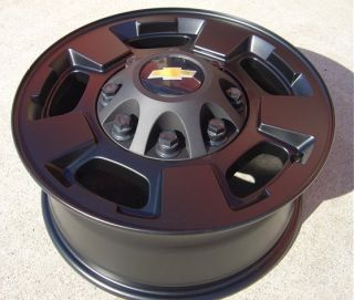 Flat Matte Black Wheels 17 Chevy Silverado 2500 HD 8 Lug by 180mm