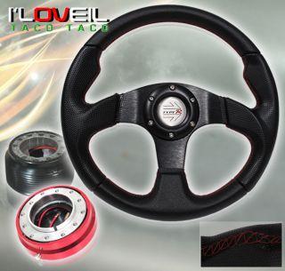 92 95 Honda Civic Black Steering Wheel Red Short Quick Release Adapter