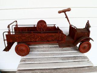 1920s Pressed Steel Buddy L Keystone Fire Truck Moving Wheels