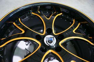 19 asanti AF143 143 Lambo Black Orange Wheels Rims 3 Piece