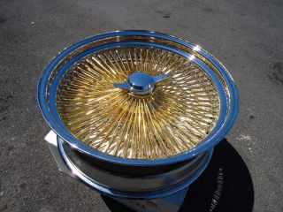 DAYTON Gold & Chrome 20x8 Wire Wheels Full Set Rims knockoff Lowrider
