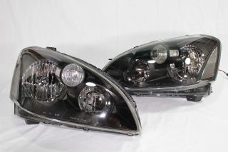 02 03 Nissan Altima JDM Black Headlights Clear Sedan