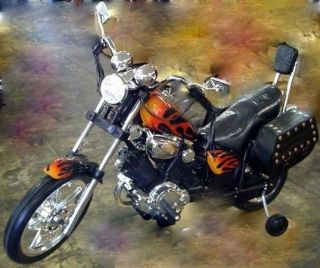 Flame Electric Power Ride on Toy Motorcycle Harley Wheels Bike