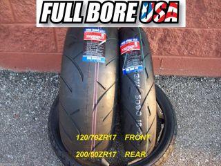 Two Tire Set 120 70ZR17 200 50ZR17 Full Bore USA Sport Bike Motorcycle
