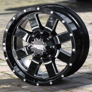 18 inch Black Wheels rims Moto Metal 962 FORD F250 350 8 lug trucks