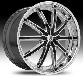 20 Wheel Set Chrome Black Inserts LX20 18x7 5 Rims 5LUG 20inch