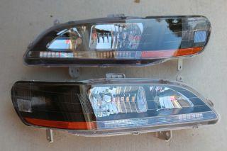 98 02 Honda Accord 2/4 Door CG JDM Black Headlights w/ Amber Reflector