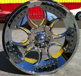 24 inch KMC 755 Venom Rims and Tires Yukon Sierra Escalade Suburban