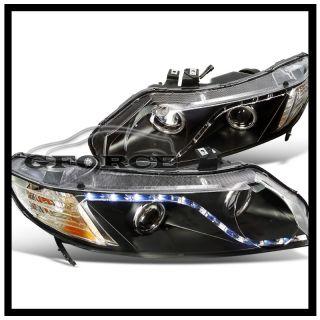 Honda Civic Sedan R8 Style LED Loop Projector Headlights Black