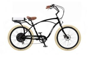 Electric Cruiser Bicycle Bike Black Frame Rims Creme Tires