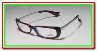 NEW ALAIN MIKLI 229 RED PURPLE SILVER FULL RIM VISION EYEGLASSES
