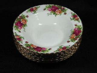 Royal Albert Old Country Roses 1962 England 8 Rim Soup Bowls