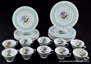 Hampton Court Pattern Green Corinthian Rim Cups Plates Blue Lily