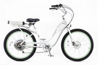 Pedego Electric Cruiser Bicycle Bike Whiteframe Greenrims Black
