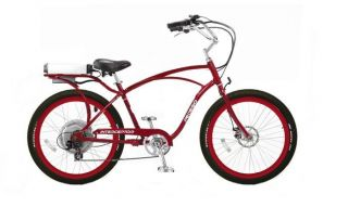Electric Cruiser Bicycle Bike Red Frame Rims Black Tires