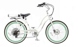 Pedego 24 Electric Cruiser Bicycle Bike Whiteframe Greenrims White