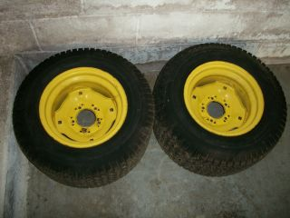 DEERE 23X1050 12 TURF TIRES AND WHEELS OFF OF A 318 GARDEN TRACTOR