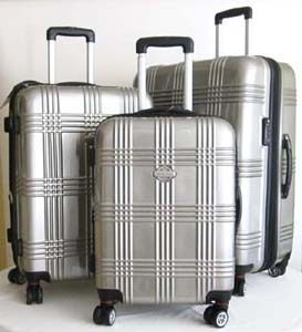 Pc Luggage Set Hard Rolling 4 Wheels Spinner Upright Travel Silver