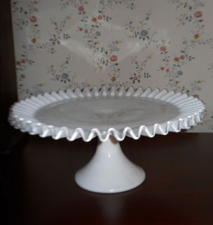 FENTON WHITE MILK GLASS CAKE STAND SILVERCREST RIM RUFFLE TALL 7213