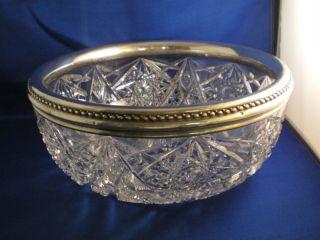 Gorham sterling rim on American Brilliant STAR OF DAVID cut glass bowl